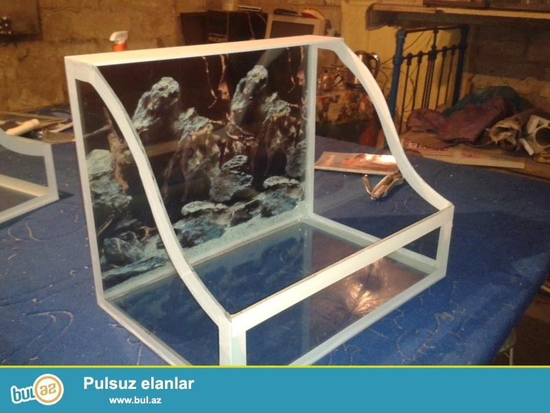 Celpaxa akvariumlar uzunu 35 eni 25 hun 25 teze veziyyetde...