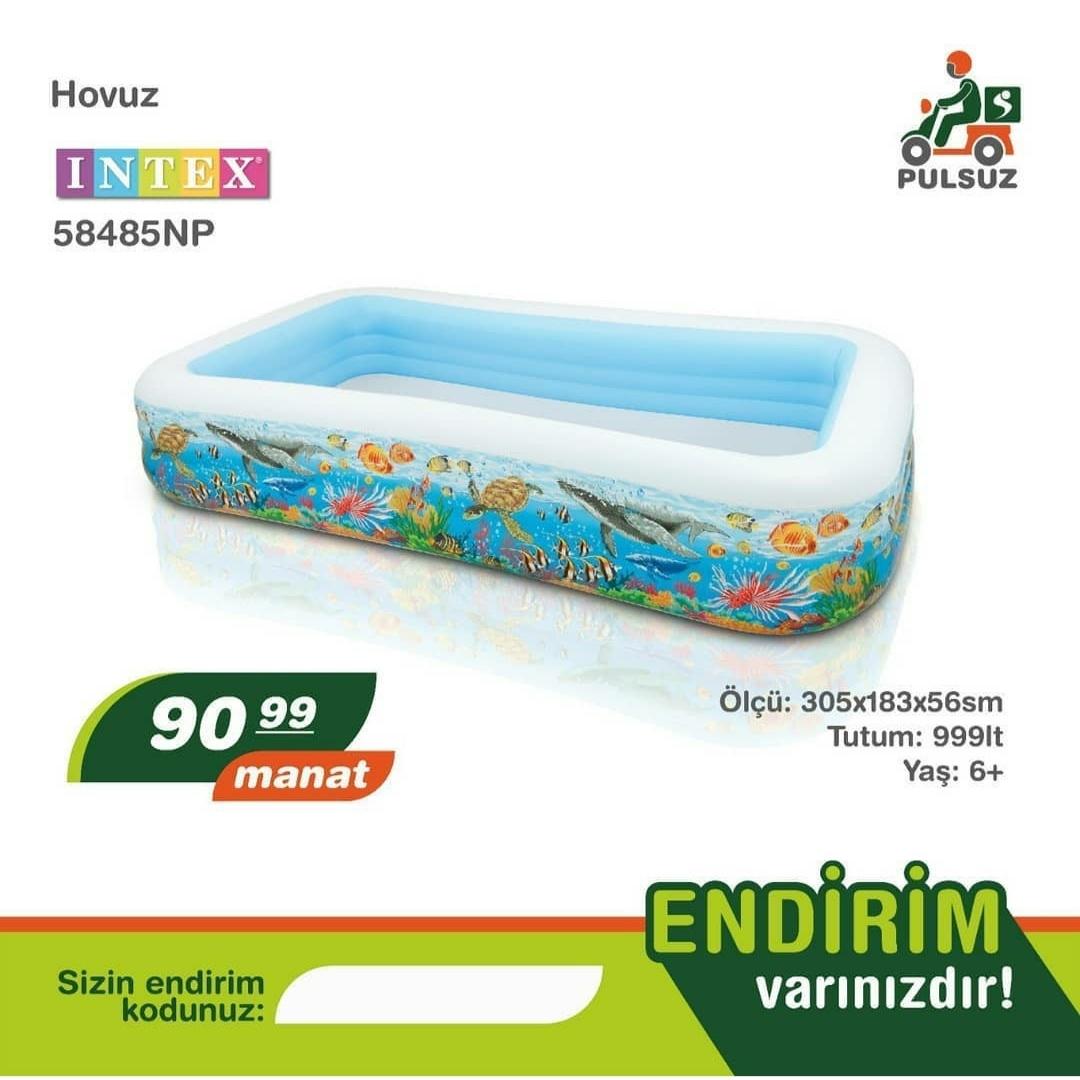 Hovuz İntex Ölçü: 305x183x56sm Tutum: 999lt Yaş: 6+ Nağd