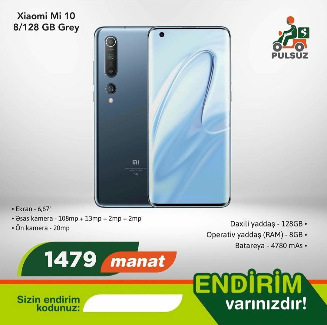 Xiaomi Mi 10 (8/128 GB) Grey Nağd satışdır Pulsuz