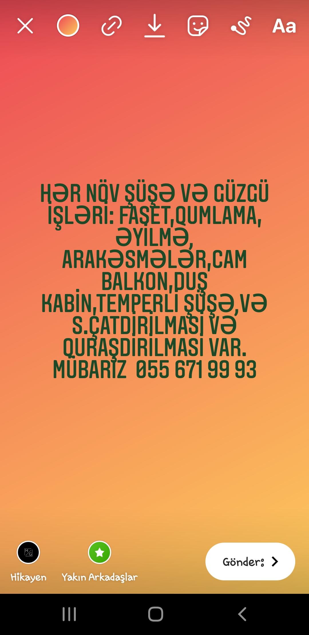 Hər növ şüşə və güzgü işləri: faset,qumlama, əyilmə, arakəsmələr,cam balkon,duş kabin,temperli şüşə,və s.Çatdırılması və quraşdırılması var. Mübariz  055 671 99 93 (whatsapp var)