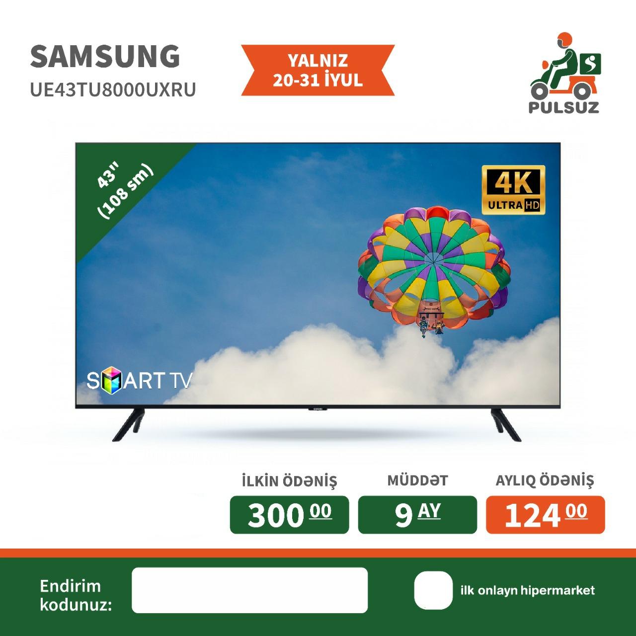 Televizor Samsung (108 sm) Smart Tv Kampaniya şərtilə