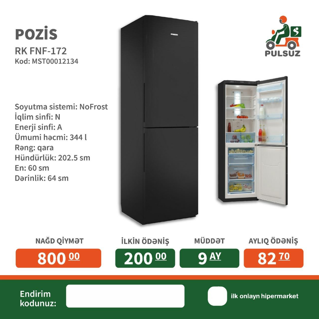 Soyuducu Pozis Ümumi həcmi: 344 lt Soyutma sistemi: NoFrost