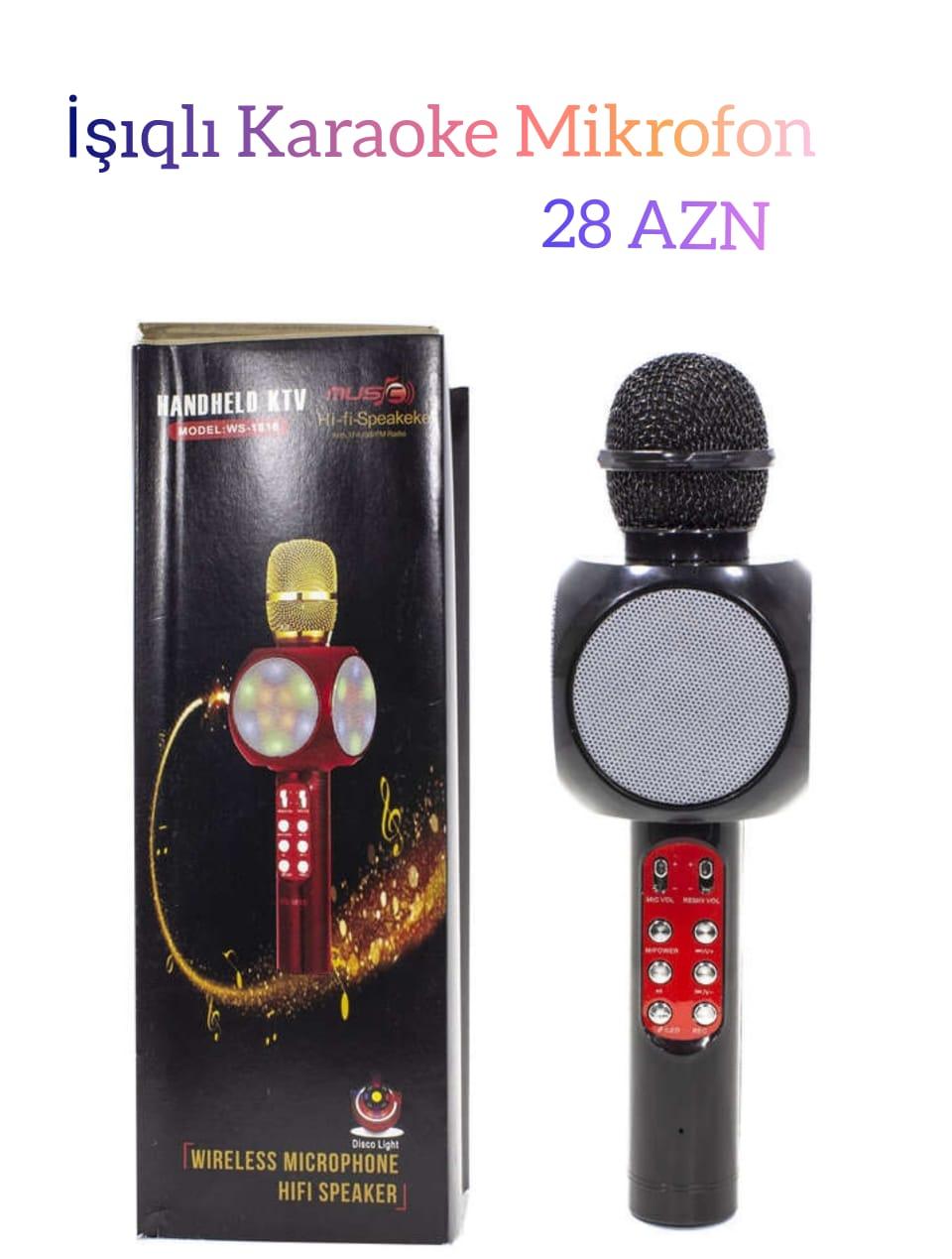 İşıqlı karaoke mikrofon satılır. Qiymət 28 AZN. Ən ucuz və keyfiyyətli elektronika mallarını bizdən alın. Çatdırılma ödənişlidir. Bölgələrə poçt vasitəsilə göndərmə mümkündür. Sifariş üçün votsappla əlaqə saxlayın.