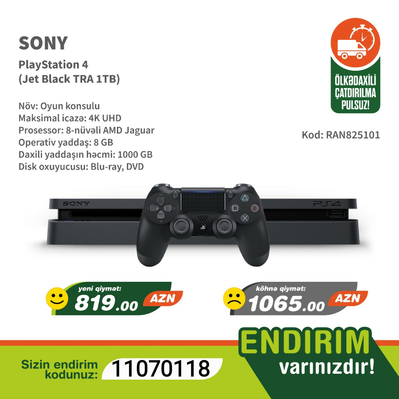 Sony PlayStation 4 (Jet Black TRA 1TB) Prosessor: 8 Nüvəli