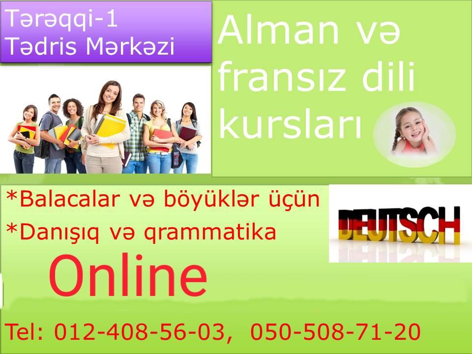 Online Fransız və alman dili kursları Dərslər həftədə 2-3