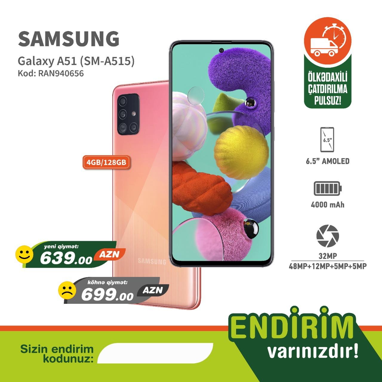 Samsung A51 Pink (4/128 gb) Sifariş et Endirimli Nağd