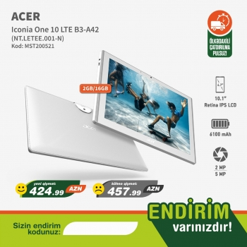 Planşet Acer Iconia One 10 LTE B3-A42 (2/16gb) Endirimli