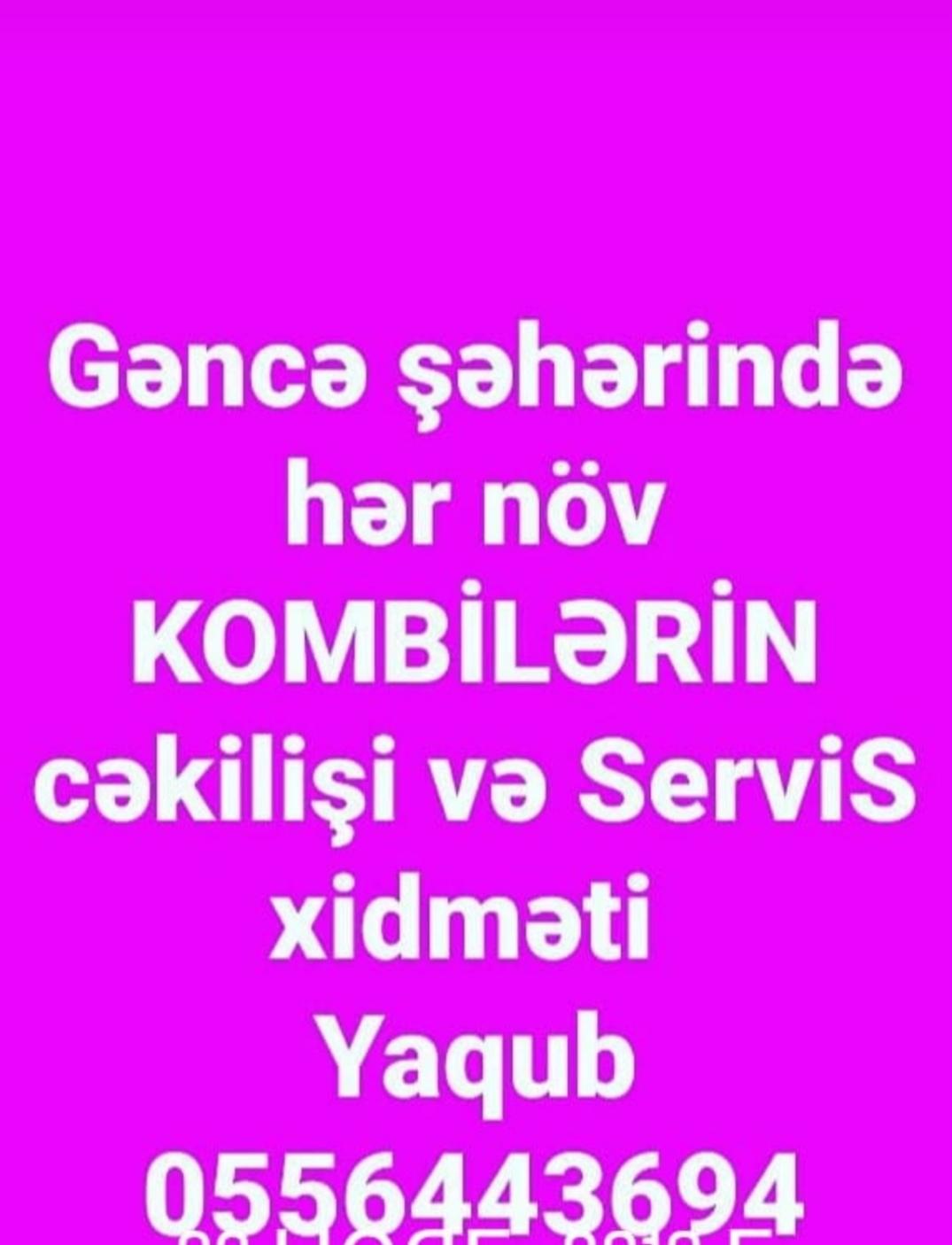 Gəncədə kombi sistemi cəkilişi və servis xidmətləri Yaqub