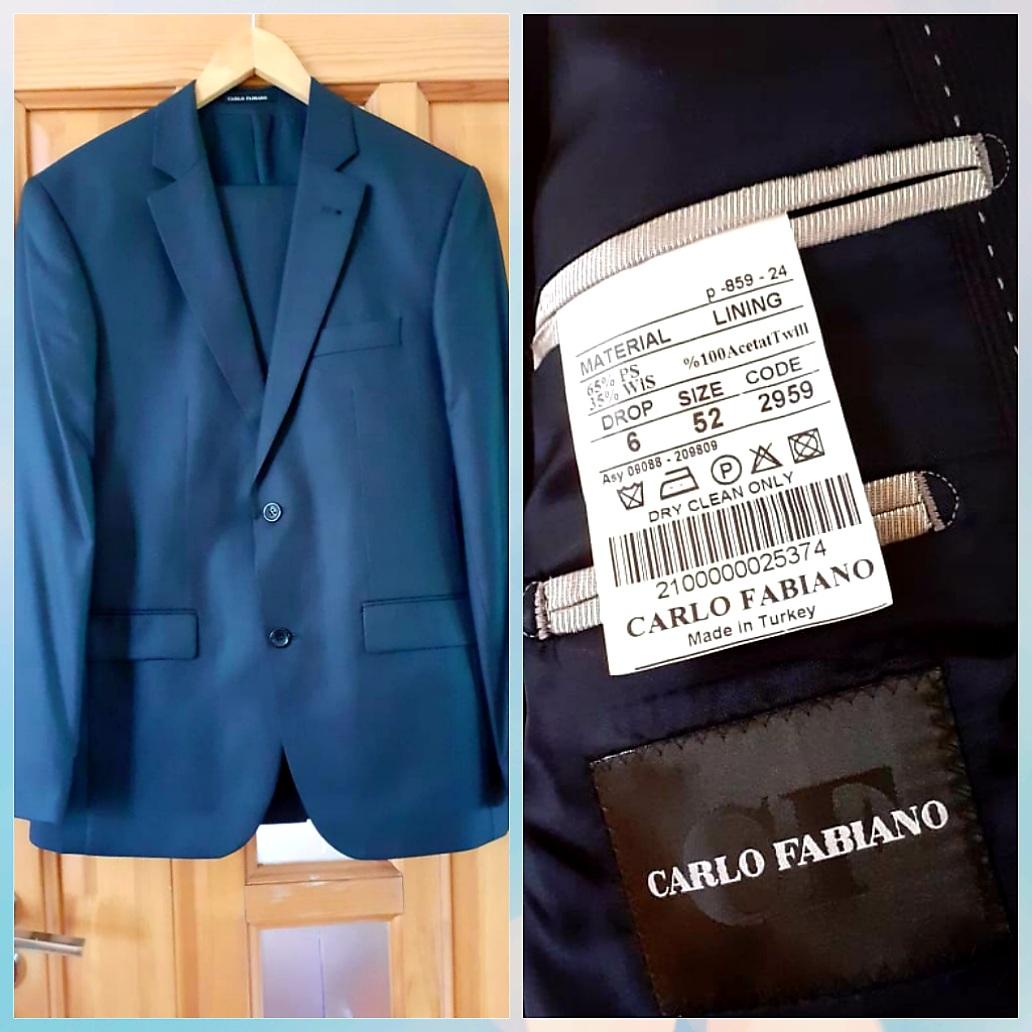 Carlo Fabiano firması 52 ölçü pencək-şalvar cəmi 1 dəfə toya geyilib. 50 azn. Ünvan Qarayev. Çatdırılma metro.