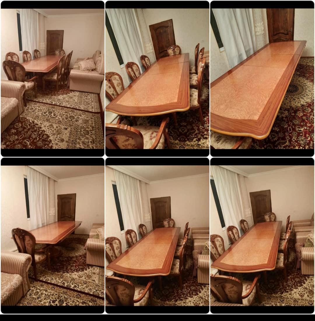 Masa və 8 oturacag Belarusiyadan alınıb. İşlənməyib. Masa 1m 10x2 m 40 açılanda 3 m olur. Stulun 2si qolludur. 900 azn. Ünv : Quba.