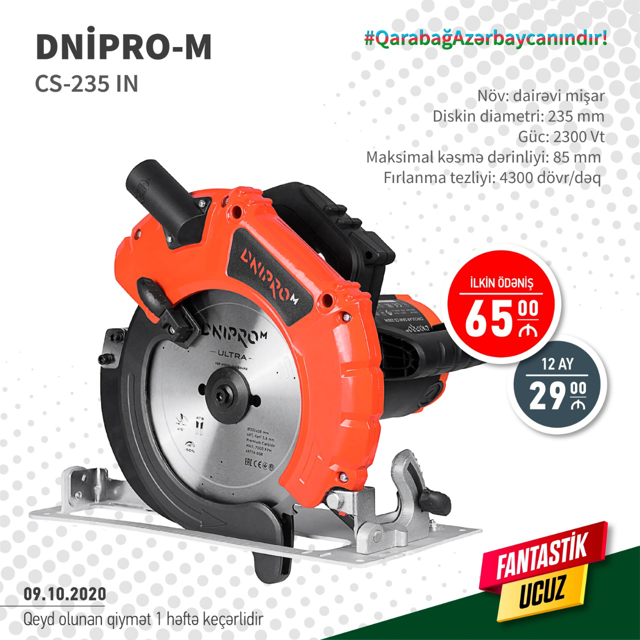 Növ: Dairəvi Mişar Diskin diametri: 235 mm Güc: 2300 Vt