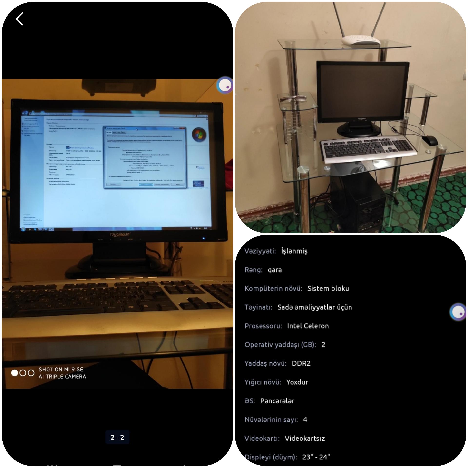 Kompyuter Masası ilə birgə satilir Yenisi alindiği üçün