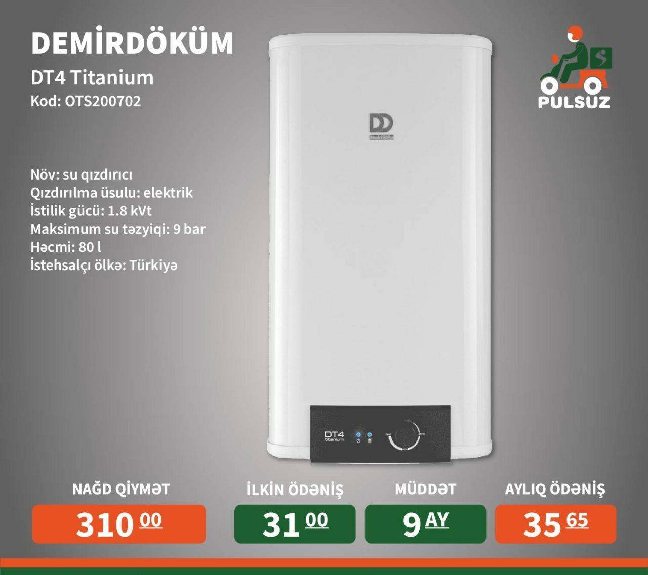Tip - Elektrikli su qızdırıcısı İstilik Gücü: 1.8 kVt Həcm:
