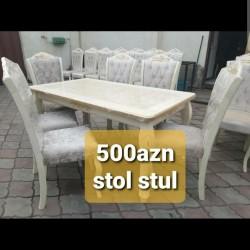 masa stol stul dest, yenidir. stol acilir. 90x160 sm olcu.