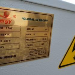 Ela veziyyetdedir. 15 KVA. 45A. 110-250 V. Cox az ve