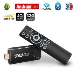 T98 Mini Stick Android 10 Quad-Core 4k Tv box + Uzaqdan