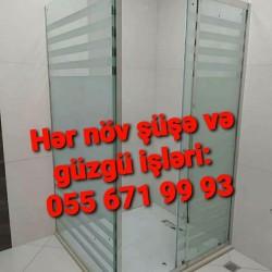 Hər növ şüşə və güzgü işləri: duş