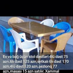 Ev və bağ üçün stol dəstləri 4lü dəst 75 azn,6lı dəst 125