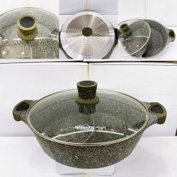Uaken Granit Bölünən Tava 2 ayrı yeməyi eyni anda bişirin