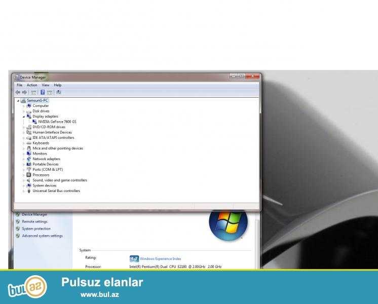 "Manitor SamsunG 17 LSD<br /> Prossesor SP <br /> HDD 160 GB<br /> Ram 2 GB<br /> VideoKart Geforce 7600 Gs 128 Bit<br /> Sistem Yani "" Farmat "" Windows 8<br /> Islemesine Soz Yoxdu Donmasi Hec Yoxdu <br /> <br /> Qiymeti 140 AZN Real Aliciya Bir Azda Endirim Ederem ..."
