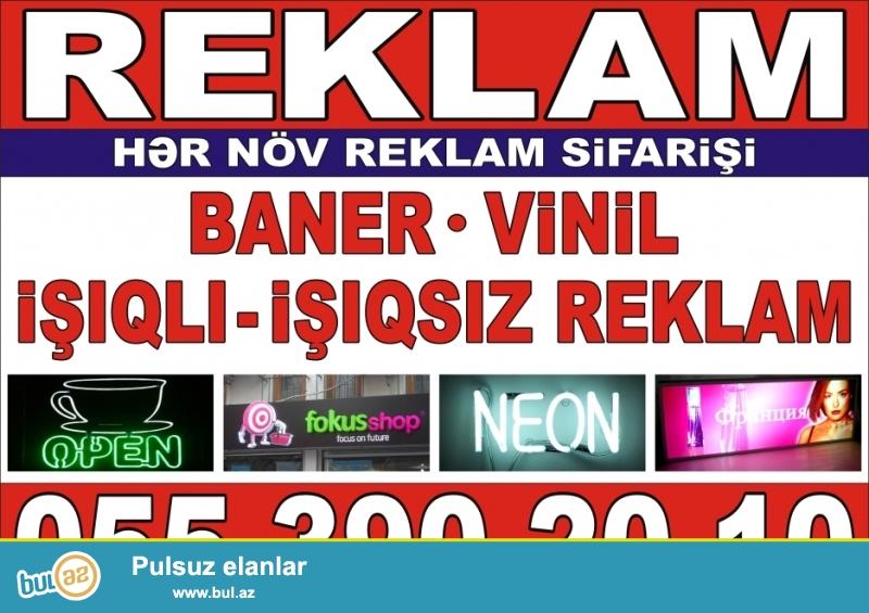 - LAZER KESIM <br /> - Baner ve Vinil uzerinde cap<br /> - Vizitkart, Buklet, Flayer<br /> - Ishiqli ve ishiqsiz col reklamlari<br /> - Neon reklamlar<br /> Whats app: +994553902010<br /> www...