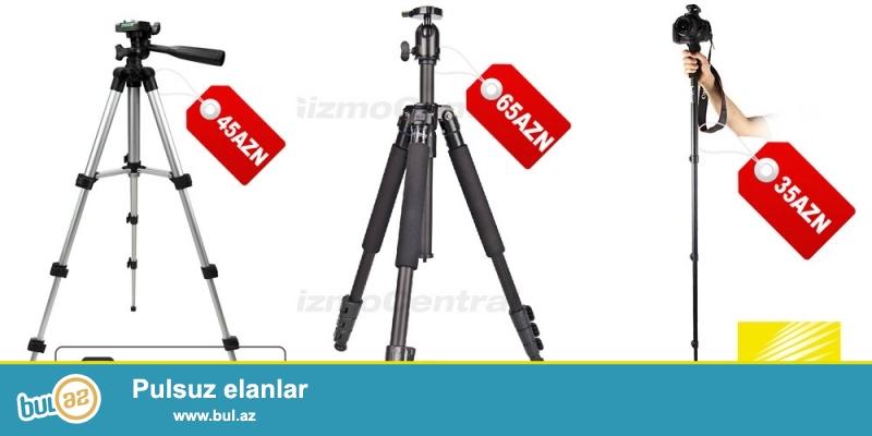 Foto ştativ və monopod (Tripods, monopods)<br /> <br /> Universal ştativ (Tripod) Canon Nikon – 45 manat<br /> Minimum hündürlük 45sm<br /> Maksimum hündürlük 130sm<br /> 4 ayaqdan ibarətdir<br /> <br /> Fancier ştativ (Tripod) Canon Nikon – 65 manat<br /> Minimum hündürlük 51sm<br /> Maksimum hündürlük 140sm<br /> 4 ayaqdan ibarətdir<br /> Çox funksiyalı ştativdir...