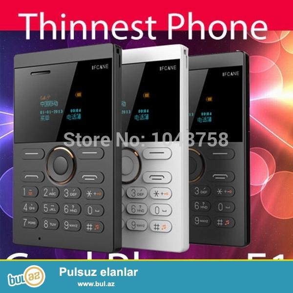 Ifcane e1 ultra nazik orginal mini telefon.<br /> Telefon plastik kredit karti boyukluyundedi ve unikal dizayna malikdi...