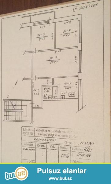 Litvanın şimalında yerləşən Naujoji Akmene şəhərində 3 otaqlı orta təmirli ev satıram...