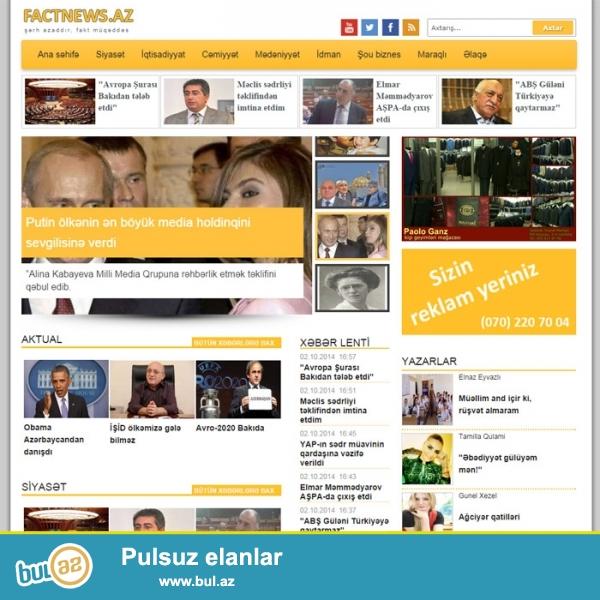 Reytingi olan hazir xəbər portalı çox ucuz qiymətə satılır! <br /> İstifadəsi çox rahatdır...