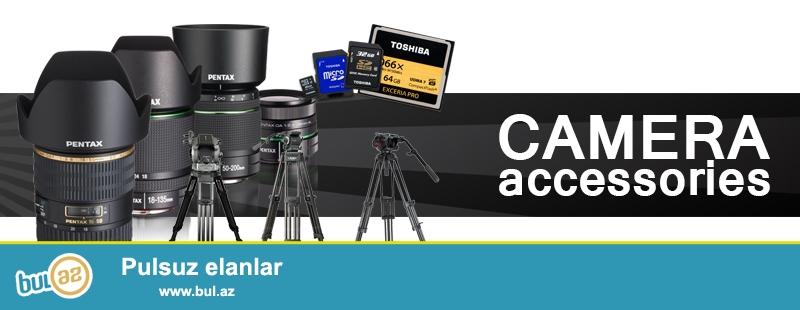 Fotokamera aksessuarları Canon Nikon və d.<br /> <br /> Batareykalar<br /> Batareyka blokları<br /> Sumkalar<br /> Adapterlər<br /> Təmizləyicilər<br /> Yaddaş kartları<br /> Mikrafonlar<br /> Pultlar<br /> Filterlər<br /> Obyektivlər üçün qapaqlar<br /> Blendalar<br /> İşıqlar və işıqlar üçünn aksessuarlar<br /> Ştativ və monopodlar<br /> <br /> Canon Nikon Pentax Sony Fujifilm Olympus<br /> tel: 051 5607319