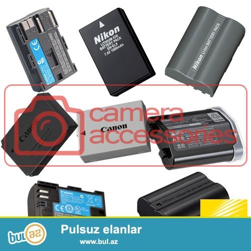 Canon Nikon batareykaları (Batteries)<br /> Canon<br /> LP-E4 - Canon EOS 1D 1Ds Mark III IV 1DX 1Ds3 1D3 1D4 - 55manat<br /> LP-E5 - Canon EOS 450D 500D 1000D - 35manat<br /> LP-E6 - Canon EOS 5D2 5D3 7D 6D 70D 60D - 40manat<br /> LP-E8 - Canon EOS 550D 600D 650D 700D X4 X5 x6i - 35manat<br /> LP-E10 - Canon EOS 1100D 1200D - 35manat<br /> LP-E12 - Canon EOS M M2 100D - 35manat<br /> BP-511A - Canon EOS 300D 10D 20D 30D 40D 50D D30 D60 5D - 35manat<br /> Nikon<br /> EN-EL3E - Nikon D300S D300 D100 D200 D700 D70S D80 D90 D50 - 35manat<br /> EN-EL4A - Nikon D2H D2Hs D2X D2Xs D3 D3S - 55manat <br /> EN-EL9/A - Nikon D60 D40 D40X D5000 D3000 - 35manat<br /> EN-EL14 - Nikon D5300 D5200 D3300 D3100 D3200 D5100 P7000 P7100 - 35manat<br /> EN-EL15 - Nikon D600 D610 D800 D800E D7000 D7100 - 40manat<br /> <br /> (və digər aksessuarların satışı...