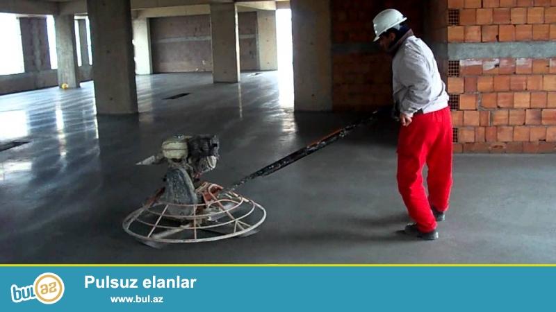 Quru beton ŞAP işlərinin görülməsi və vertalyotla hamarlanması.