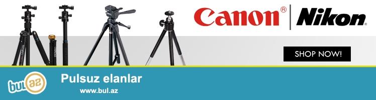 Canon Nikon fotokameraları üçün ştativ və monopod<br /> <br /> Ştativlər 45manatdan - 65 manata kimidir...