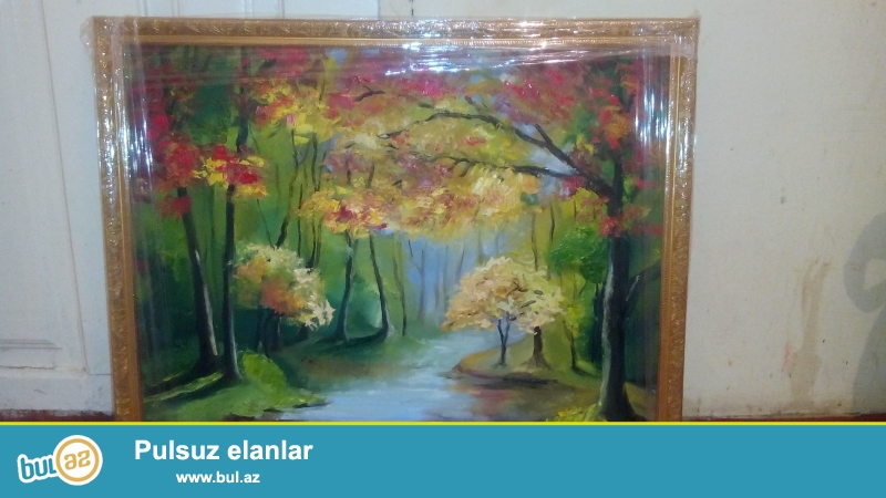 Kətan Yağlı boya ilə payız renglerinin  qarışıqı resm eseri