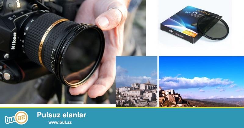 Canon Nikon digər obyektivlər üçün filterlər (UV CPL)<br /> 52mm UV             - 15manat<br />  58mm UV             - 15manat<br /> 67mm UV             - 15manat<br /> 72mm UV             - 20manat<br /> 77mm UV             - 20manat<br /> 58mm CPL            - 20manat<br /> 67mm CPL            - 20manat<br /> 72mm CPL            - 25manat<br /> 77mm CPL            - 25manat<br /> <br /> (və digər aksessuarların satışı...
