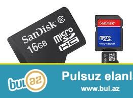 Original mikro kart 16gb (yeni) <br /> <br /> Foto aparat ve telefonlar uchun ...