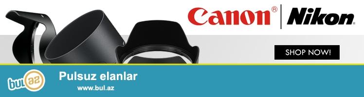 Canon Nikon obtektivləri üçün blendalar<br /> Canon<br /> EW-60C II (for EF-S 18-55mm)                                   -15manat<br /> EW-63 (for EF-S 18-55mm)                                         -15manat<br /> EW-73 (for EF-S 17-85mm EF-S 18-135mm)            -15manat<br /> EW-78 (for EF-S 18-200mm)                                       -20manat<br /> EW-88 (for EF 24-70mm)                                             -20manat<br /> Nikon<br /> HB-25 (for 24-85mm 24-120mm)                                                                           -20manat<br /> HB-32 (for NIKKOR 18-105mm NIKKOR 18-135mm NIKKOR 18-70mm)          -15manat<br /> HB-45 (for NIKKOR 18-55mm)                                                                                 -15manat<br /> HB-57 (for DX NIKKOR 55-300mm)                                                                         -15manat<br /> <br /> (və digər aksessuarların satışı...