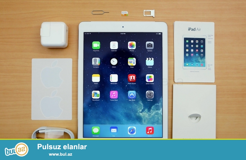 Ipad Air 32 Gb WiFi- 300 AZN<br />\r\nIpad Air 64 Gb WiFi-350 AZN<br />\r\nIpad Air 128 Gb WiFi-390 AZN<br />\r\nIpad Air 64 Gb Wifi,4G-507 AZN<br />\r\nIpad mini 32 Gb WiFi,4G-320 AZN<br />\r\nIpad mini 64 Gb WiFi,4G-350 AZN<br />\r\nipad mini retina 64 Gb,4G-430 AZN<br />\r\n<br />\r\nAdi magazadakinnan 100-150 manat awagi...