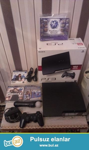 Playstation 3 slim, 160 gb, prowivka olunub, demek olarki teze qalib, 2-3 ay iwlenib, karobkasi senetleride var, usdunde 1 jostik + hdm + kamera + move kontroler...