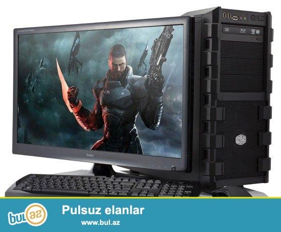 İntel core - prosessor ~ 3ghz<br /> 4 gb RAM<br /> 1 gb RAM<br /> əlavə olaraq, 22` diaqonal monitor, klaviatura, mouse, nauşnik, yeni əməliyyat sistemi və software...