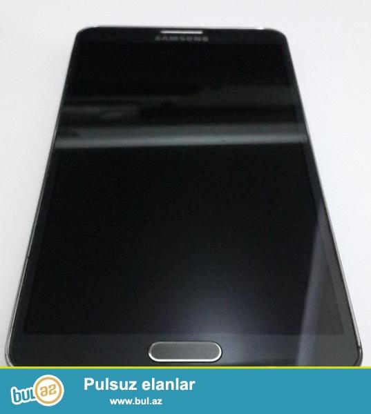Samsung Galaxy Note3 (N900) qara rengde + Karobka+adaptor(original)+naushnik(original)<br /> Qiymet: 350 Azn<br /> 7-8 ay ishlenib, temirde olmayib...