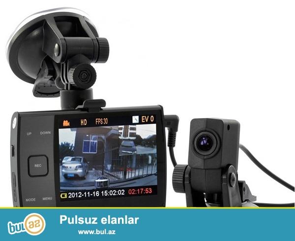 Qəza və təhlükəli hallarda sübut<br /> Məlumatların daxil edilməsi və hesablanması<br /> Quraşdırılmış avtomobil alışqanı ilə enerji təminatı<br /> -2 kamera (eyni anda) - ön və arxa<br /> -Ön kamera - HD 1280x 720 pixels / VGA 640x 480 pixels 120 °<br /> -Arxa kamera - 720 x 480 pixels 120 °<br /> -Şəkil - 1M ( 1280x960 ), 2M (1600x 120 0), 3M ( 2048x1536 ) <br /> -Tarix qeydiyyatı<br /> -Görüntü keyfiyyətinin idarə edilməsi<br /> -Səs yazma<br /> -32 GB - a qədər micro SD card qəbul edir<br /> -Ekran 9...