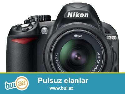 Yeni fotokamera Nikon D3100 18-55mm tecili satilir, hazirki bazar qiymeti 500 AZN-dir, 400 AZN-e teklif edirik...