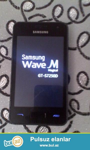 Samsung smartfonu wawe m orginal  world telekomdan alinib az islenib qutusunda qalib aylarnan  telefonun 5-10 azn xerci var ciddi birsey deyil proqram yazilmalidi usdada menyusu acilmir barterde edirem telefonla  whatsapp yaza bilersiz<br /> <br /> Processor bada Android sistemi<br /> <br /> Ram -512 Yaddas 250MB<br /> <br /> Wifi-Bluetooth USB V4-4<br /> <br /> Video goruntu 3G<br /> <br /> menyu azeri dilinde naviqator xeritesi<br /> <br /> Kamera 5MP on ve arxa Gece Feneri (Spicka)<br /> <br /> <br /> Qiymet 60azn  barterde mumkundu
