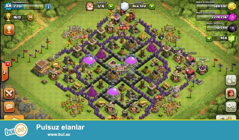 Salam,Clash of clans Satilir Koy Binasi 8 Maksimumdu Qiymet 40Azn Real Alicilar Whatsapp Vasitesi ile Elaqe Saxlasin +994554594533