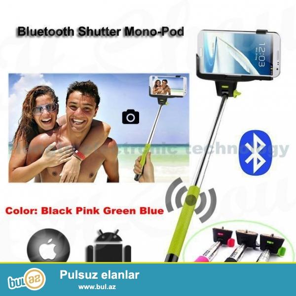 Selfi aparatı+uzaqdan idarəetmə pultu butun modell telefonlar üçün və qopro üçün<br /> batareya daxil deyl pakete<br /> pakete daxildir<br /> selfi chubugu<br /> pult