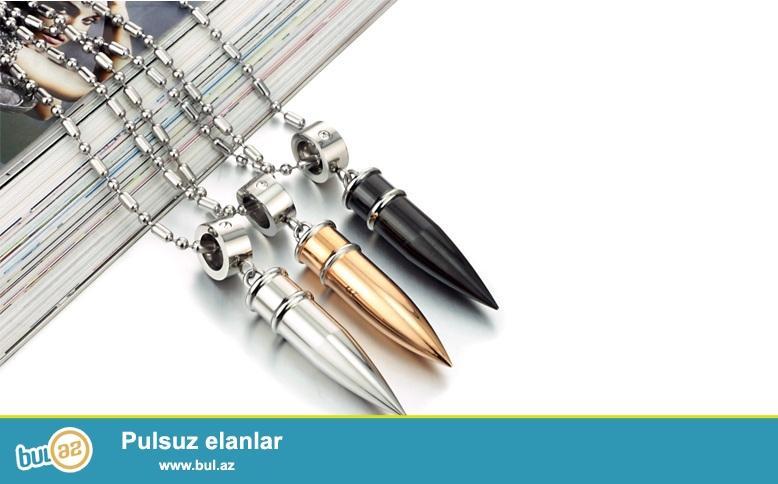 Paslanmaz polad mərmi kulonlar + sep <br /> Metal rəngləri: Qızıl, gümüş, qara <br /> Sep uzunluğu: 55 cm<br />