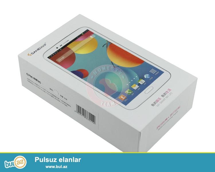 YENI ORIGINAL 2 NÖMRƏLİ 5MP KAMERALİ 1Gb ram PLANŞET<br /> Növü: Planşet<br /> Yaddaş: 8GB<br /> Səbəkə: Daxili 3G, Bluetooth, WiFi<br /> Ekran ölçüsü: 7...
