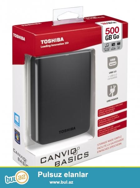 """USB Hard Disk 500GB (kenardan qoshulan)Toshiba Canvio Basics  (yeni)<br /> <br /> <br /> Sheher ichi chatdirilma + 2azn<br /> <br /> Rayonlarada gonderilir<br /> <br /> Elave elanlarimizi gormek uchun """"Istifadecinin butun elanlari"""" -na baxin<br /> <br /> Whatsapp: 050 227 27 55<br /> <br /> Skype: toptan..."""