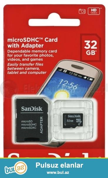 Original mikro kart 32gb (yeni) <br /> <br /> Foto aparat ve telefonlar uchun ...